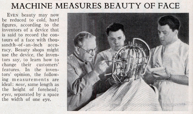 Machine Measures Beauty of Face (Popular Science, Feb, 1933); Image courtesy of ModernMechanix.com