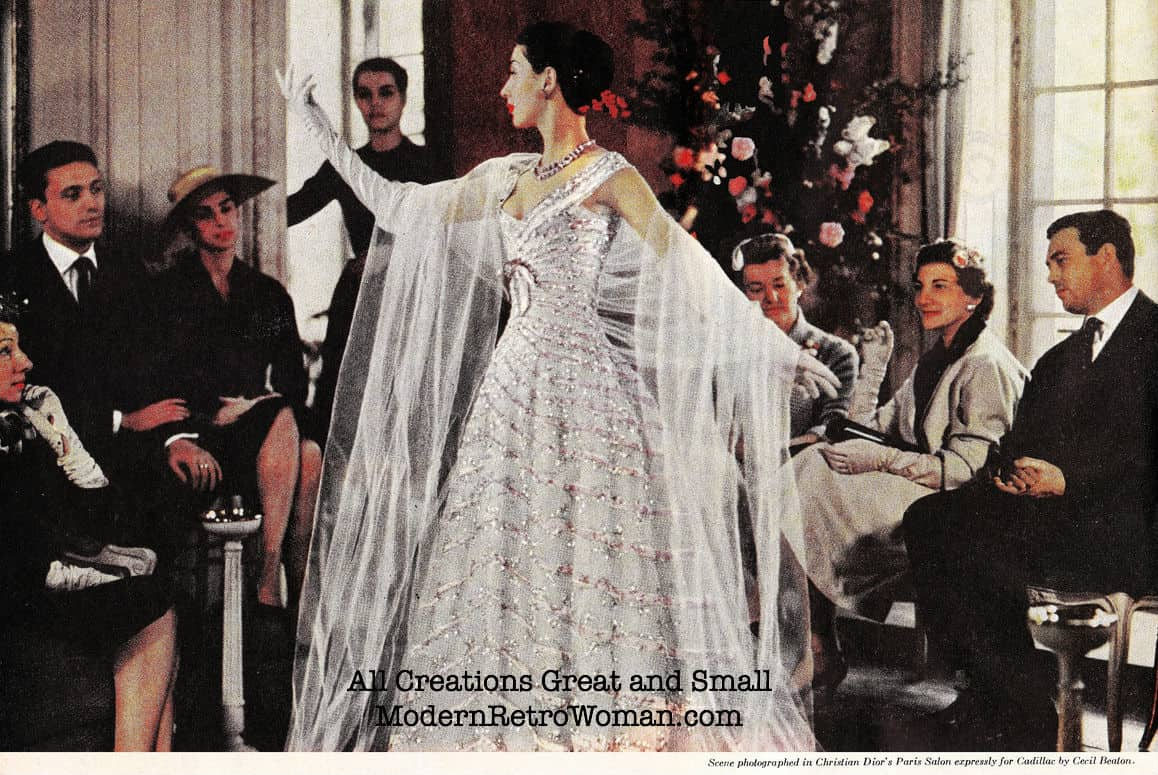 Scene photographed in Christian Dior's Salon expressly for Cadillac by Cecil Beaton, Life Magazine, August 15, 1955; Source image courtesy of SaltyCotton on Flickr.com