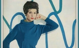 Isabella is wearing a deep blue cashmere sweater by Braemar; Harper's Bazaar, August 1957; Source image courtesy of Dovima_is-Divine_II on Flickr.com