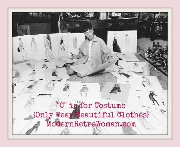 Edith Head surrounded by some of her costume designs; Source image courtesy of AMCannon6 on Flickr.com