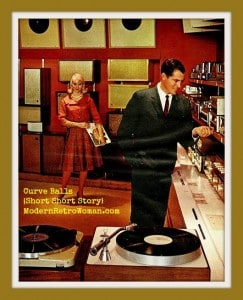 Curve Balls short story inspiration image of man playing with stereos and woman with records