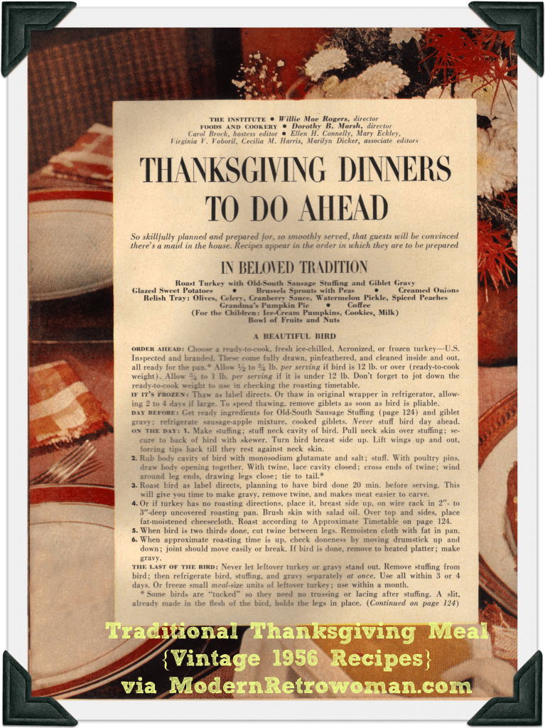Traditional Thanksgiving Meal, vintage 1956 recipes from Good Housekeeping magazine.
