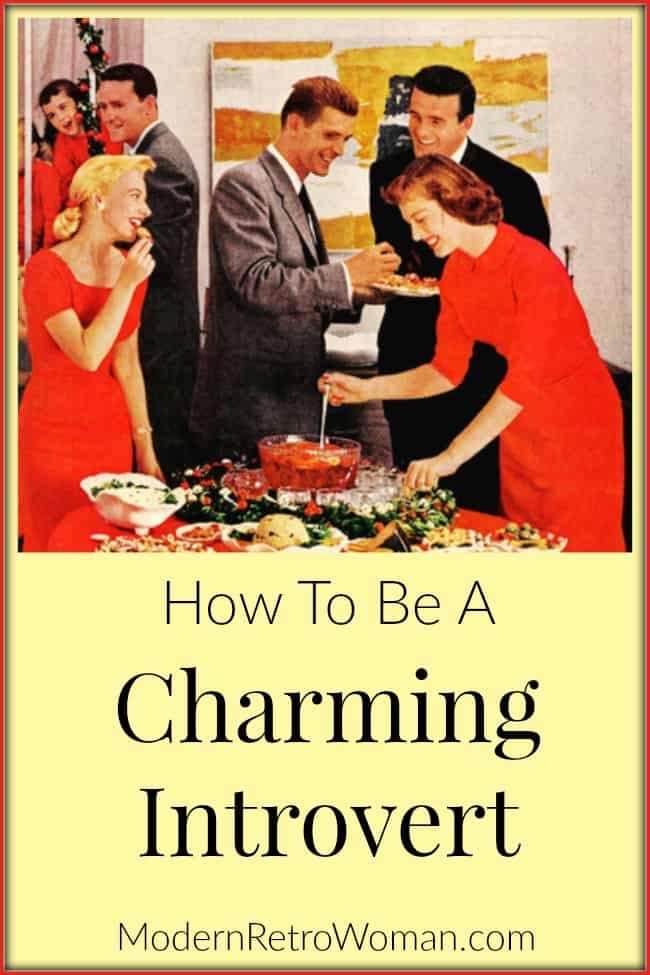 People at party image for How to be a Charming Introvert blog post on ModernRetroWoman.com