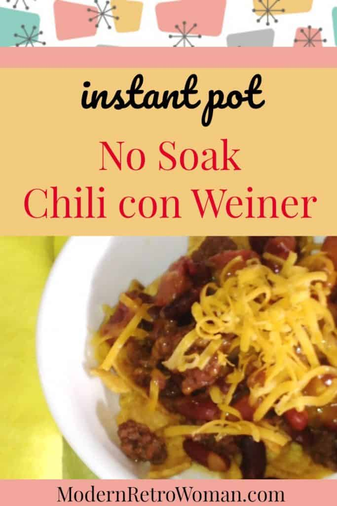 Forgot to soak your dried beans for your chili? No problem! This freezer friendly vintage recipe updated for the Instant Pot (with video!) is a chili dog in a bowl. Instant Pot No Soak Chili con Wiener is perfect for feeding a crowd on game day! ModernRetroWoman.com